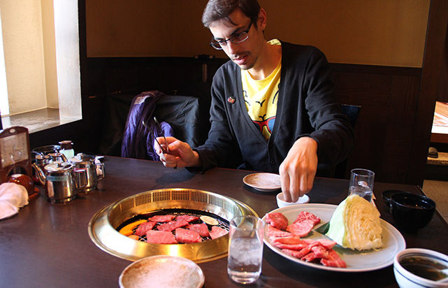 Carne de Hida en el restaurante Maruaki
